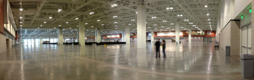 The trade expo floor is larger than six NFL football fields.