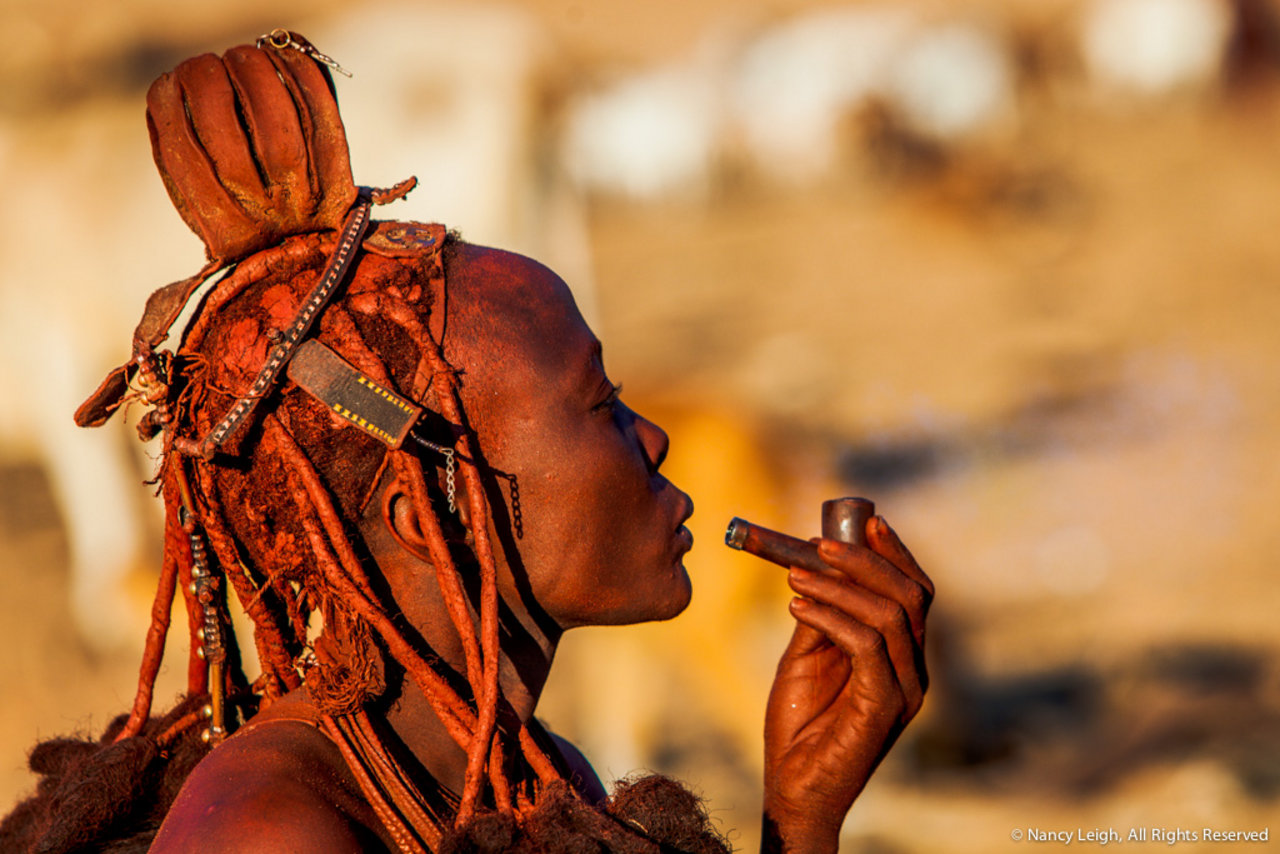 Himba Lady Smoking Pipe