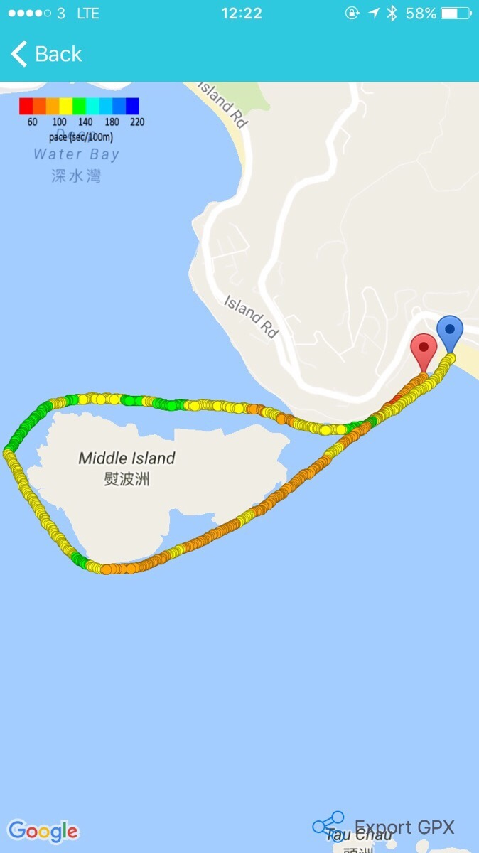 Swim Route of the Middle Island Challenge 2016
