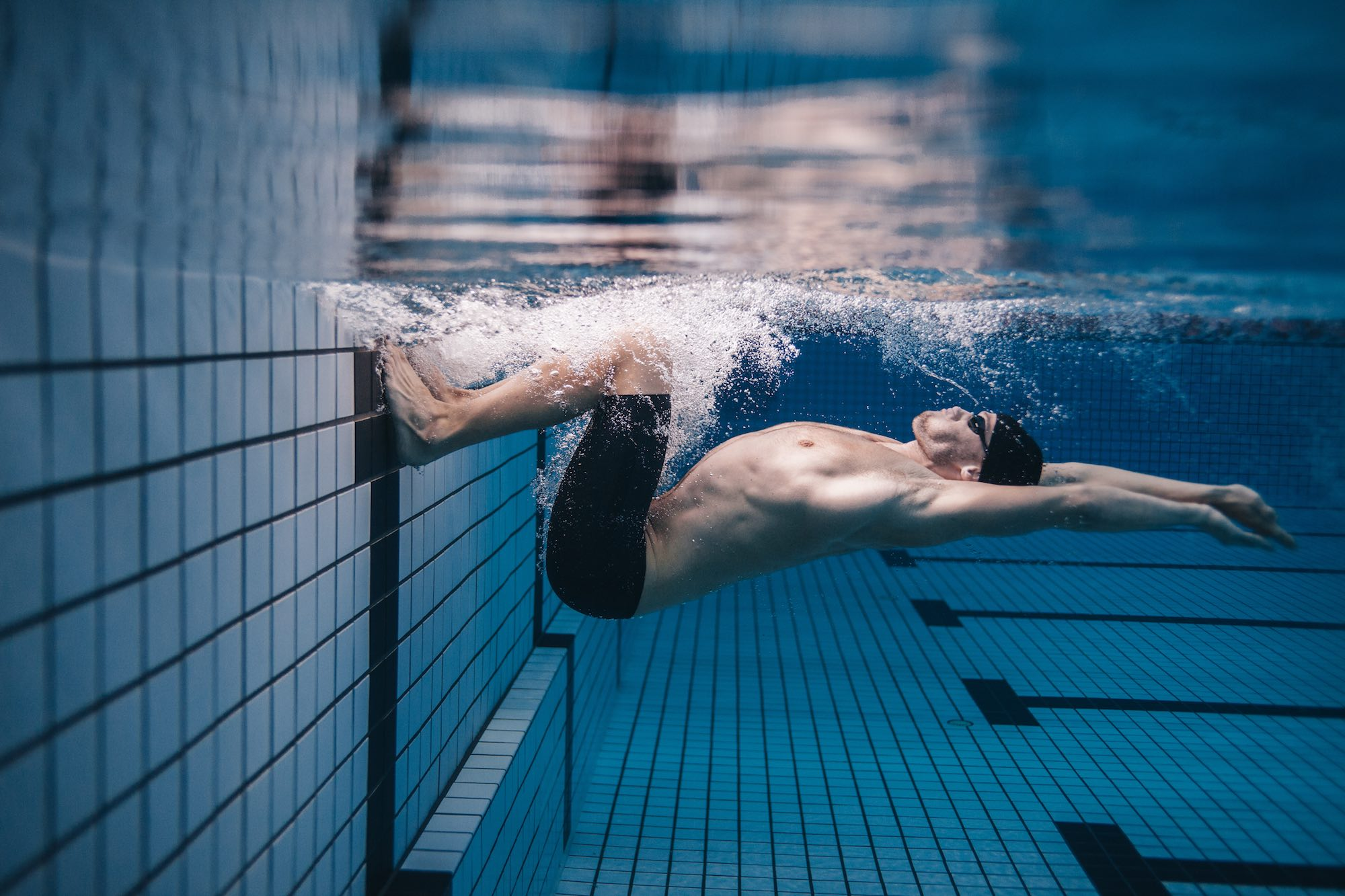 Swimmer making a tumble turn.