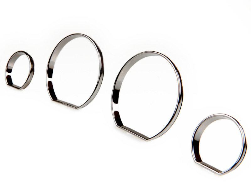 BMW E46 M3 Black Chrome Cluster Dashboard Dial Gauge Rings