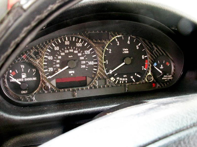 BMW E36 Z3 BLACK CARBON FIBER M3 Gauge Dash CLUSTER DIAL PANEL Bezel