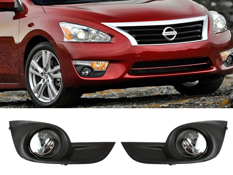 JDM Style Clear Fog Light with Cover Wiring Switch Kit For Nissan Altima Sedan