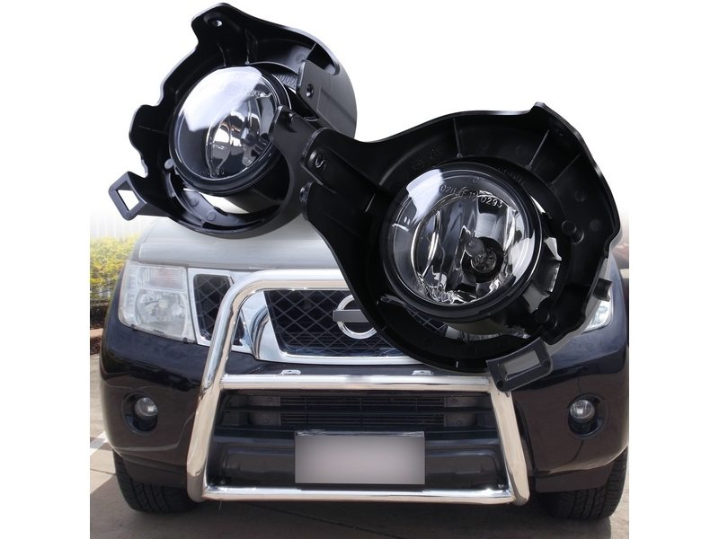 Clear Fog Light with Cover Wiring Switch Kit For Nissan Frontier Navara D40