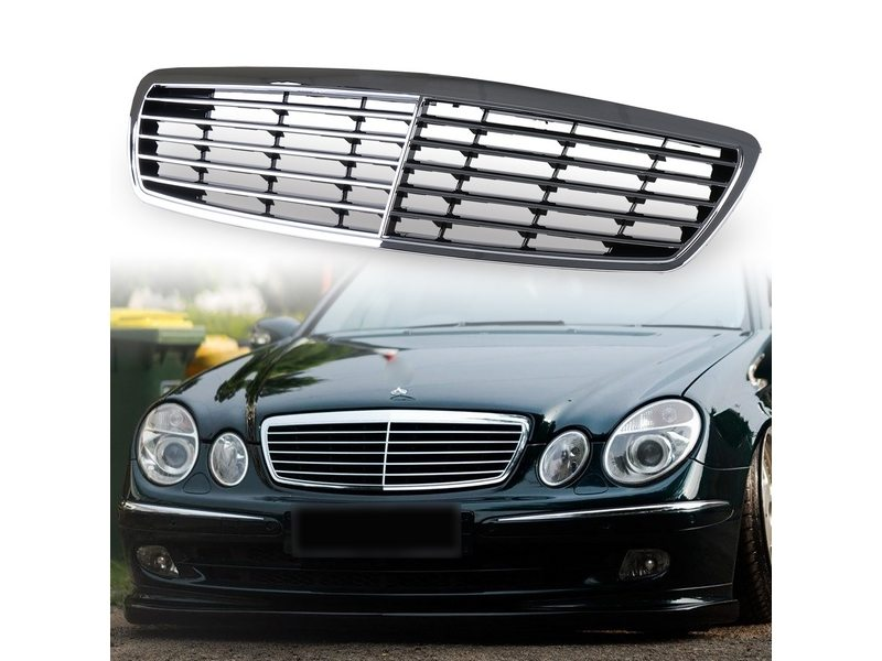 Radiator Front Mesh Grill Assembly Chrome For Mercedes Benz W211