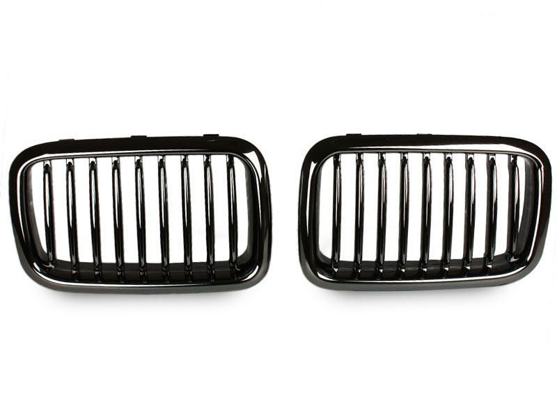BMW E36 BLACK CHROME KIDNEY FRONT BUMPER GRILL GRILLE Performance