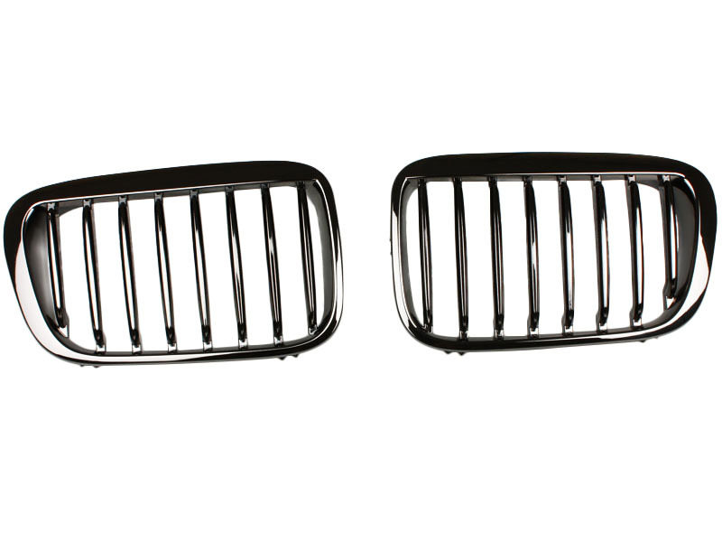 BMW E46 4D BLACK CHROME KIDNEY FRONT BUMPER GRILL GRILLE Performance