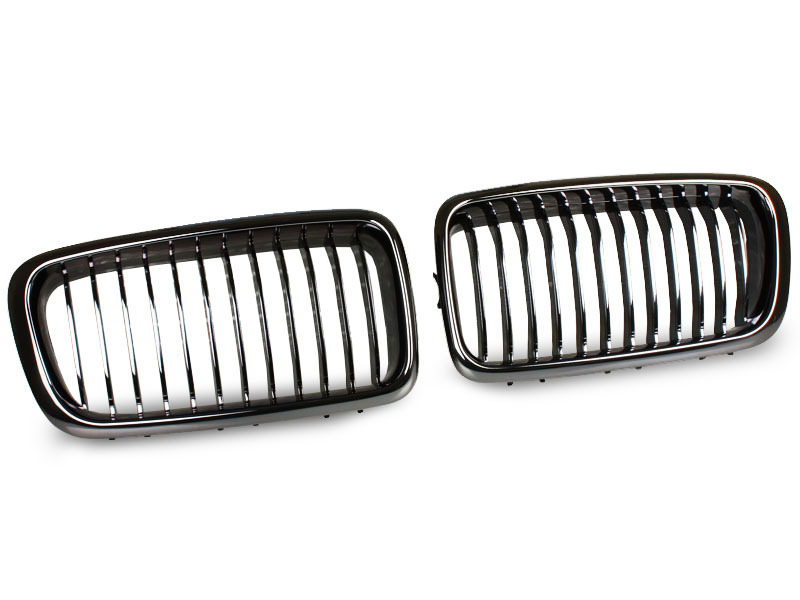 BMW E38 BLACK CHROME KIDNEY FRONT BUMPER GRILL GRILLE 7-Series Performance
