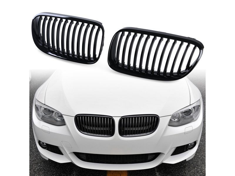 For BMW E92 E93 10-12 LCI PAINTED BLACK FRONT HOOD BUMPER DARK KIDNEY GRILLE