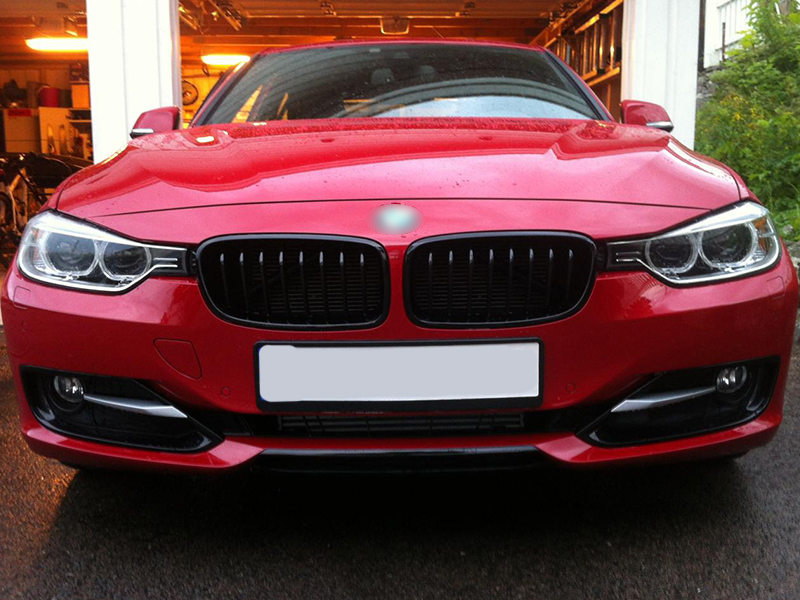 For BMW 3-Series F30 F31 Sport Style Front Bumper Kidney Grille Matte Black