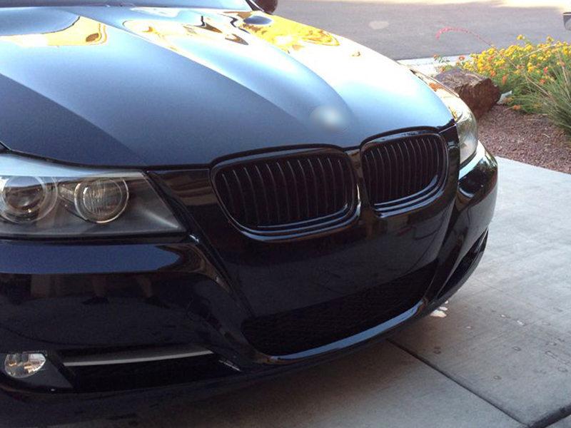 For BMW 3-Series E90 E91 LCI Front Bumper Grille Glossy Black