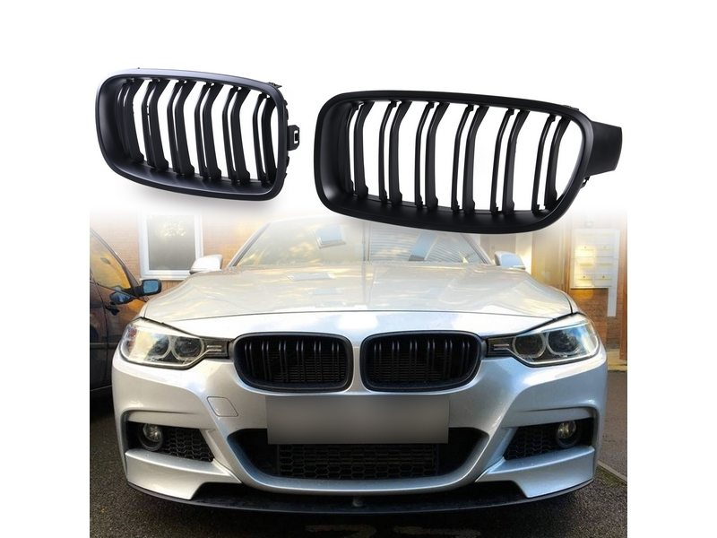Double Rib Style M3 Look Matte Black Front Kidney Grille For BMW F30 F31