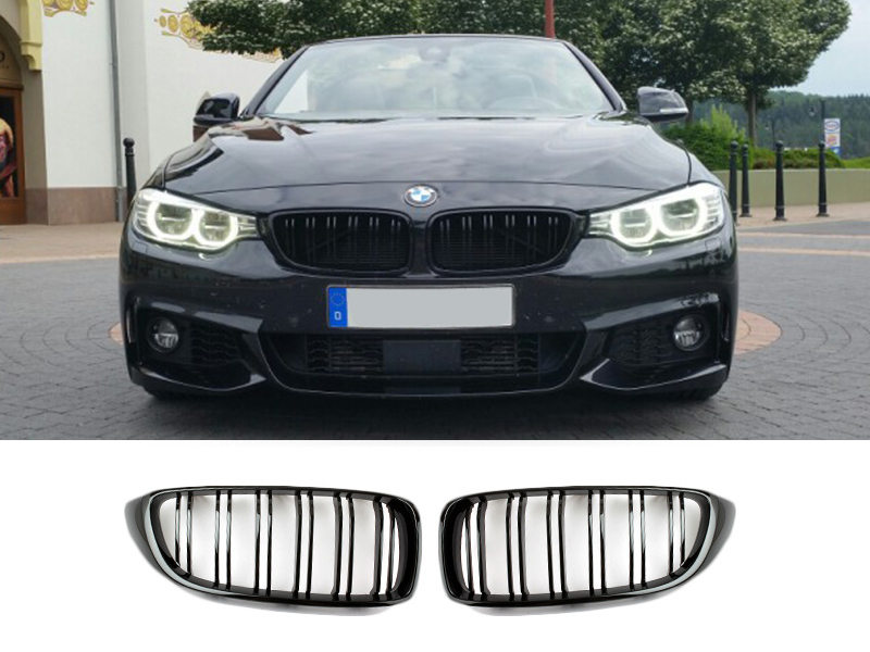 Double Rib M Look Gloss Black Kidney Grille For BMW F33 F32 F36 F82 M4 F80 M3