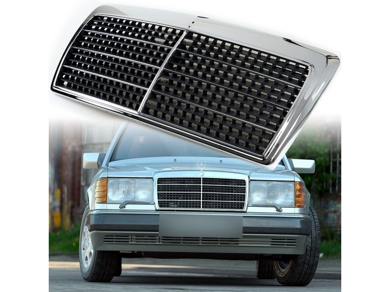 Chrome Frame Black Mesh Front Grill For Mercedes Benz W124 E-Class 300E 260E 400E