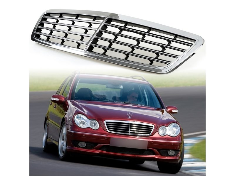 Chrome + Gloss Black Front Grille For Mercedes Benz W203 C-Class C230 C320 C280