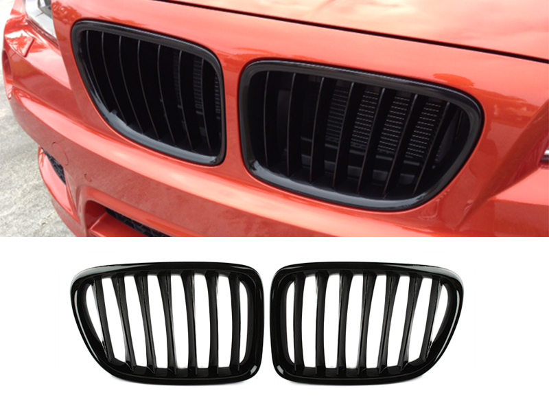 Shiny Gloss Black Front Bumper Kidney Grille BMW E84 X1 10-15 SUV