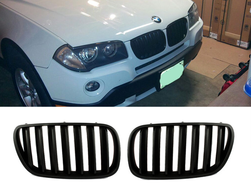 Matte Black Front Bumper Kidney Grille For BMW E83 X3 07-10 Facelift