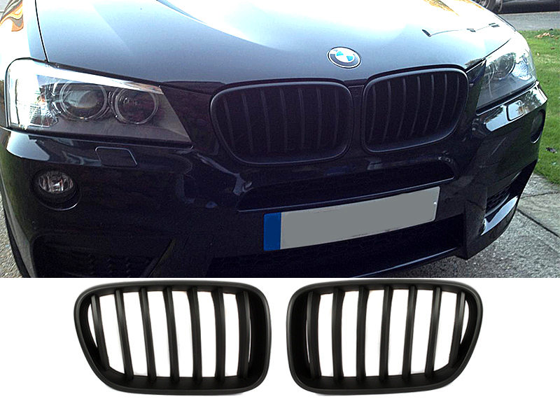 Matte Black Front Bumper Kidney Grille For BMW F25 X3 11-13 Pre-Facelift