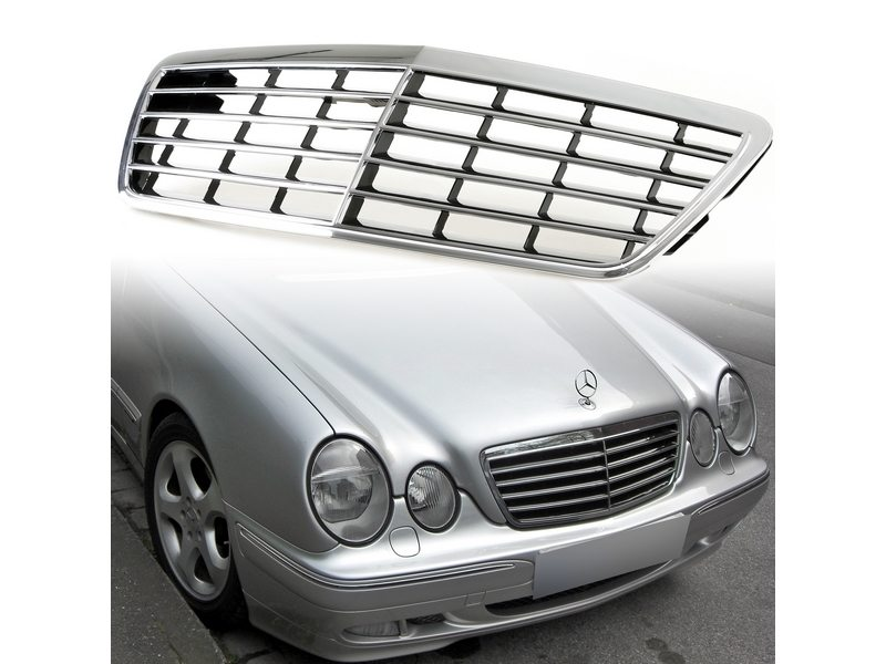 Chrome + Black Front Grill For Mercedes Benz W210 E-Class E300 E320 Facelift