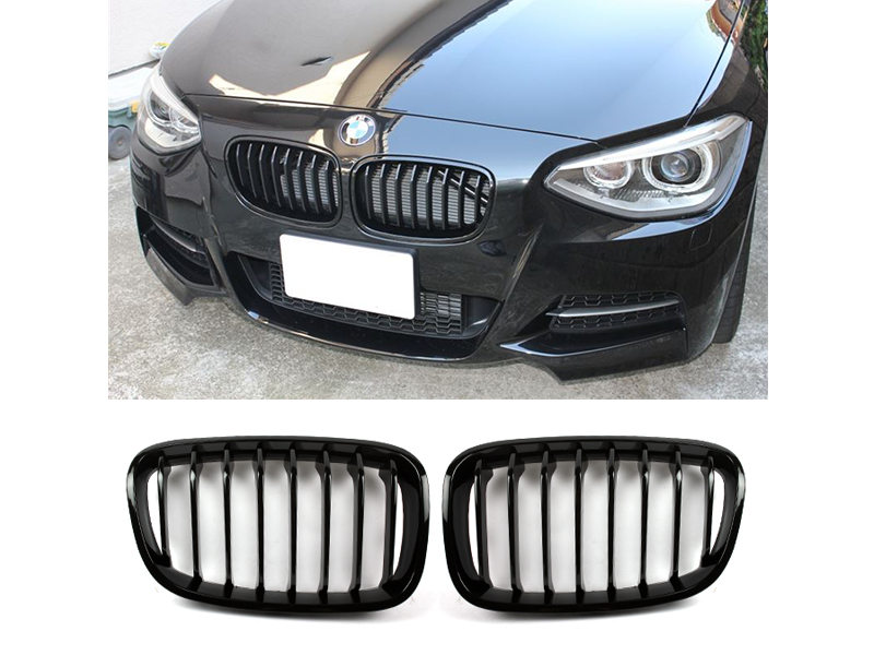 Shiny Gloss Black Sport Type Front Bumper Kidney Grille BMW F20 F21 12-16