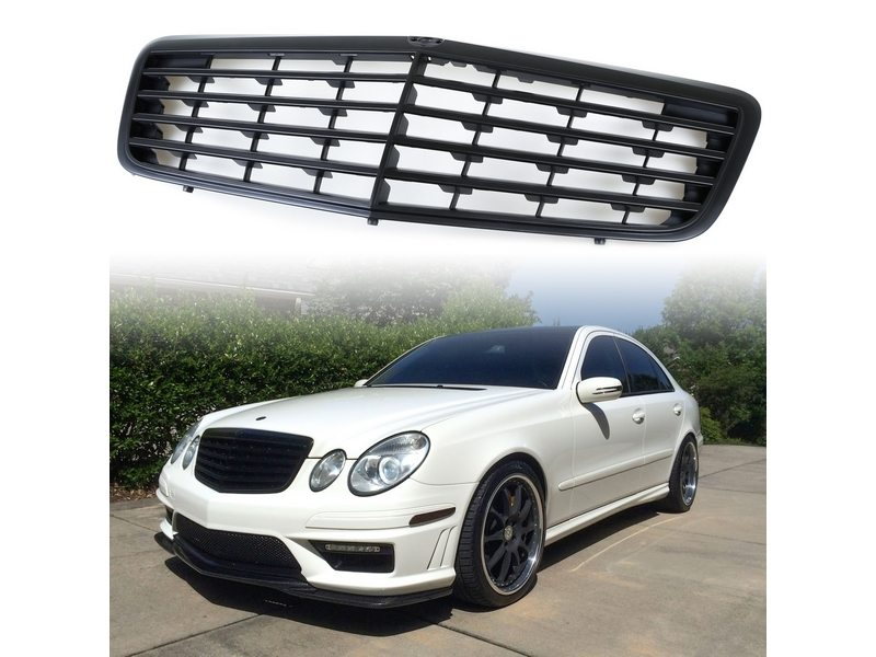 Matte Black Front Grill For Mercedes Benz W211 E-Class E300 E320 E500 2007-2009
