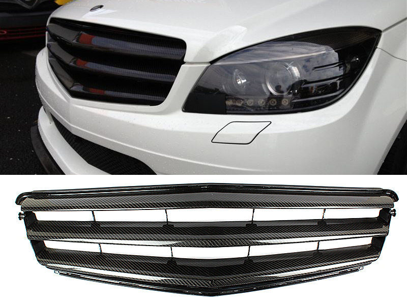 Carbon Fiber B Style Front Grille For Mercedes Benz C Class W204 07-14