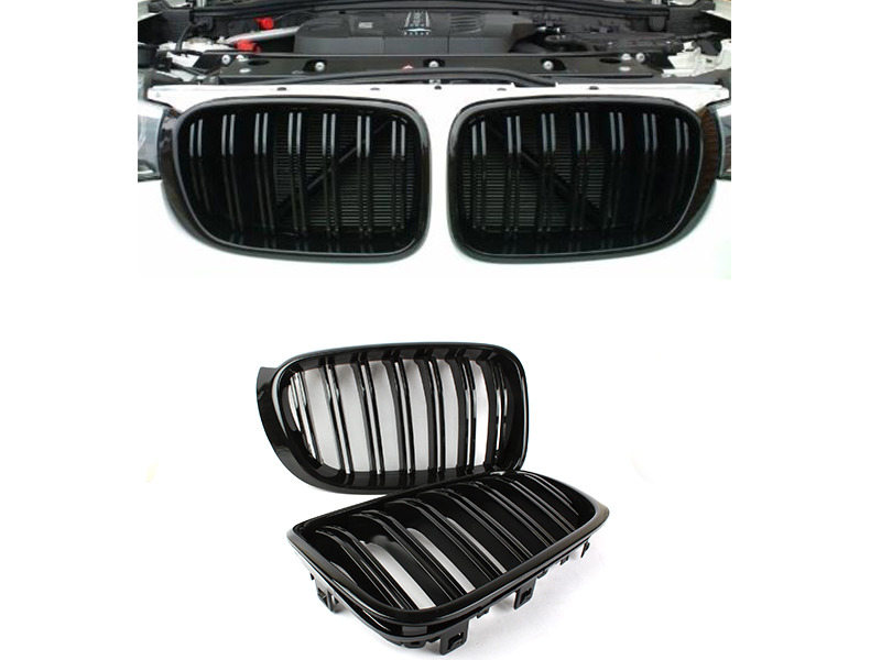 Shiny Gloss Black M Look Double Rib Front Kidney Grille BMW F25 X3 LCI F26 X4