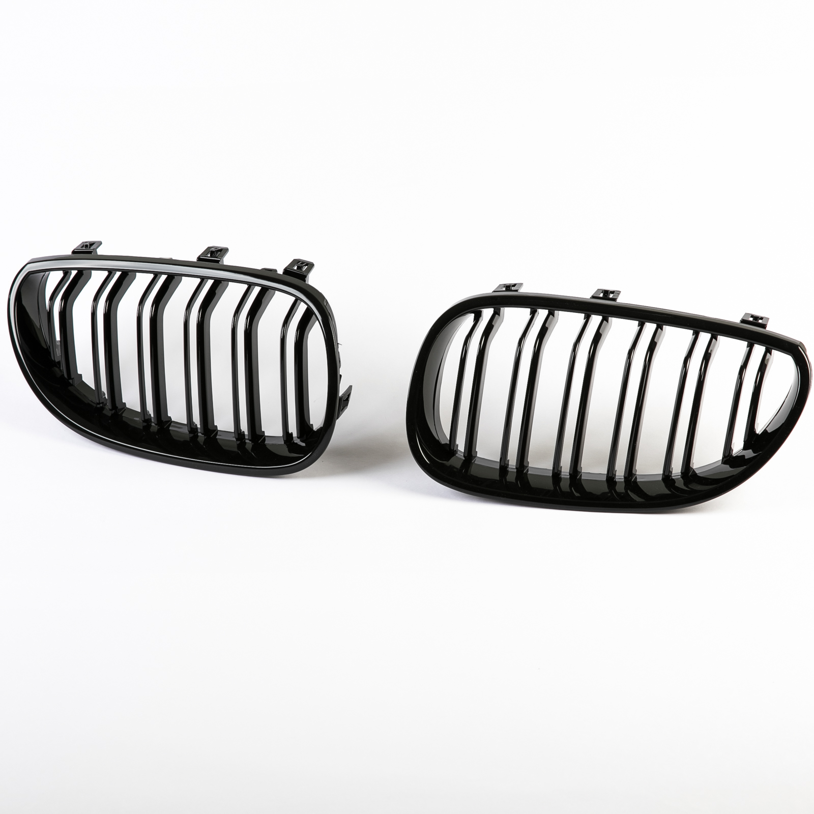 Shiny Gloss Black M Look Double Rib Front Bumper Kidney Grille For BMW E60 E61 04-09