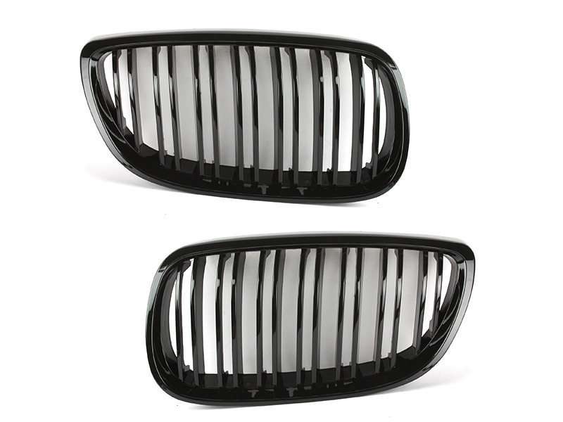 Shiny Gloss Black M4 Look Double Rib Front Bumper Kidney Grille BMW E92 E93 M3