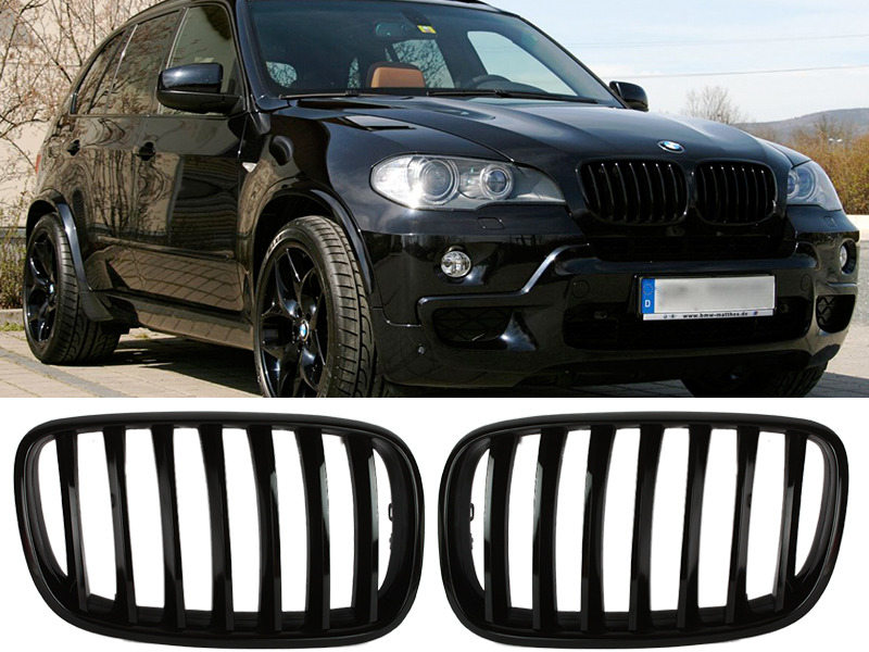 Shiny Gloss Black Front Bumper Kidney Grille For BMW E70 X5 E71 X6 07-13
