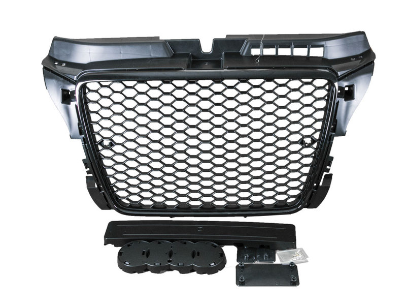 RS Style Mesh Front Hood Grille Glossy Black With PDC Hole For Audi A3 S3 8P