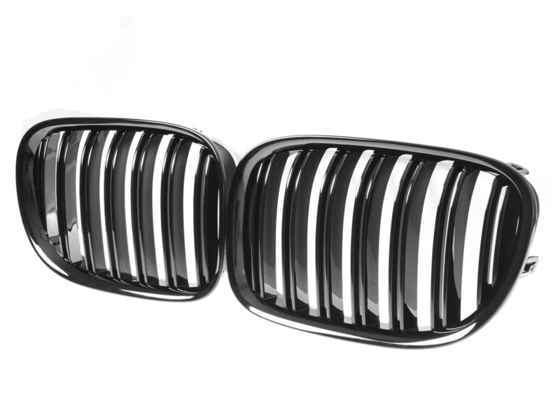 Shiny Gloss Black M Look Front Bumper Kidney Grille For BMW F01 F02 09-15