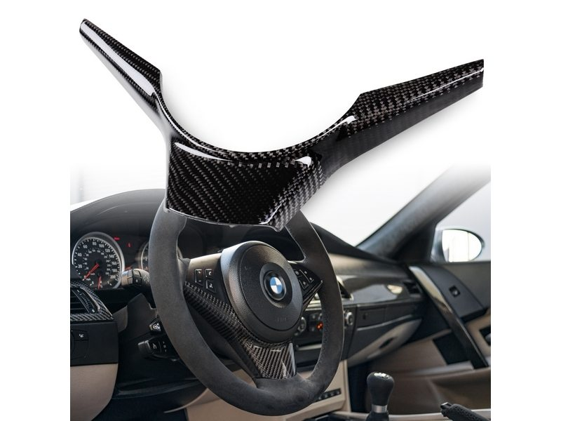 BMW E60 E61 CARBON STEERING WHEEL COVER TRIM 04-10 523i 525i 528i 530i 535i M5
