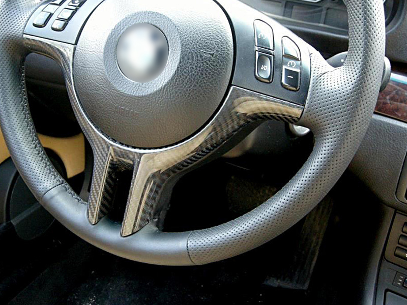 Carbon Fiber CF Steering Wheel Trim Cover For BMW E46 E39 E53 X5 3 5 Series