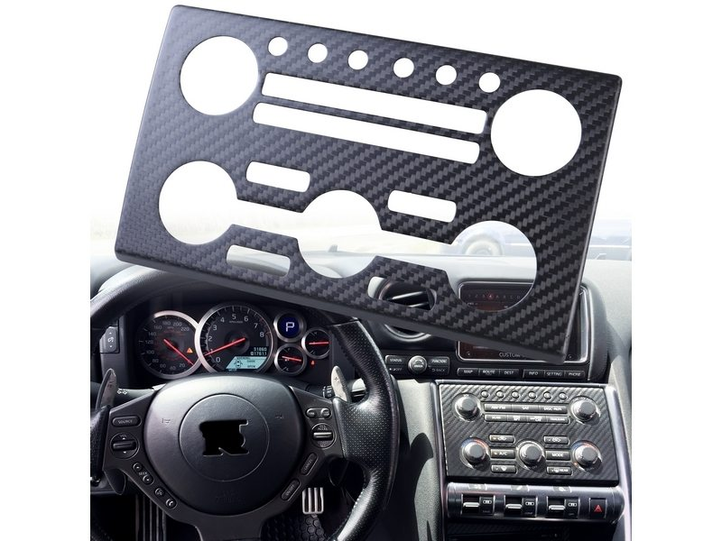 Dry Carbon Fiber CF AC Stereo Dash Panel Cover For Nissan Skyline GTR GT-R R35
