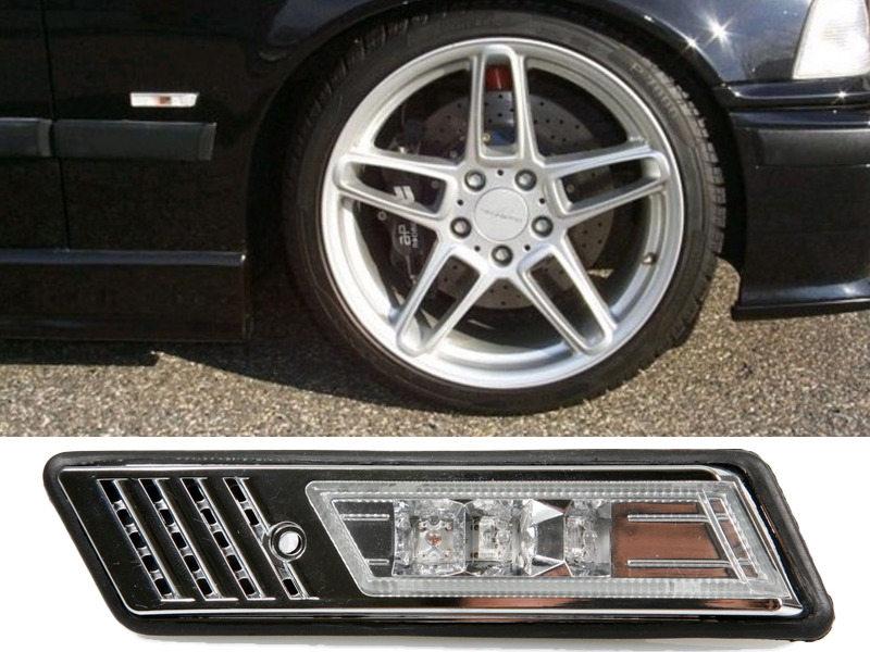LED Side Marker Repeater Light Chrome For BMW E30 M3 E32 E34 E36 1992-1996