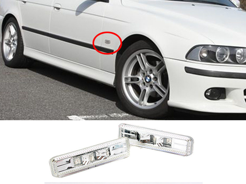 Chrome Clear LED Side Marker Repeater Indicator For BMW 1997-2003 E39 M5