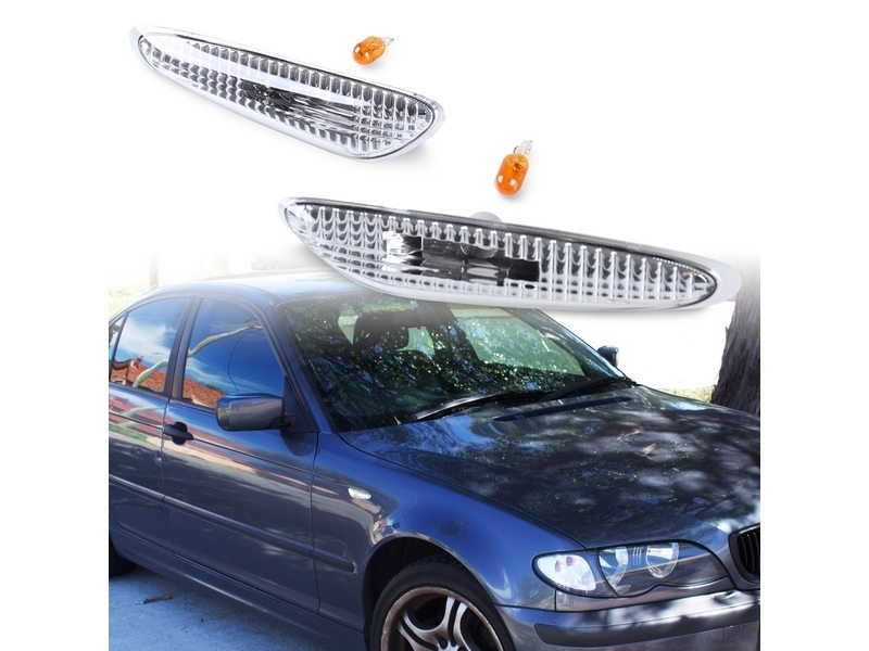 Clear Bulb Side Marker Side Repeater Lights Lamps For BMW E46 Coupe Sedan 1999-2003