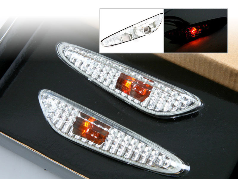 Clear Side Marker Repeater Lights Lamps Error Free For BMW E46 E60 E61