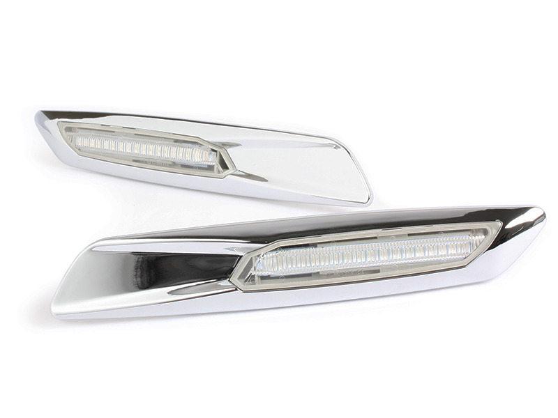 Clear Amber LED Side Marker Light Chrome Finish F10 Style For BMW E81 E90 E60