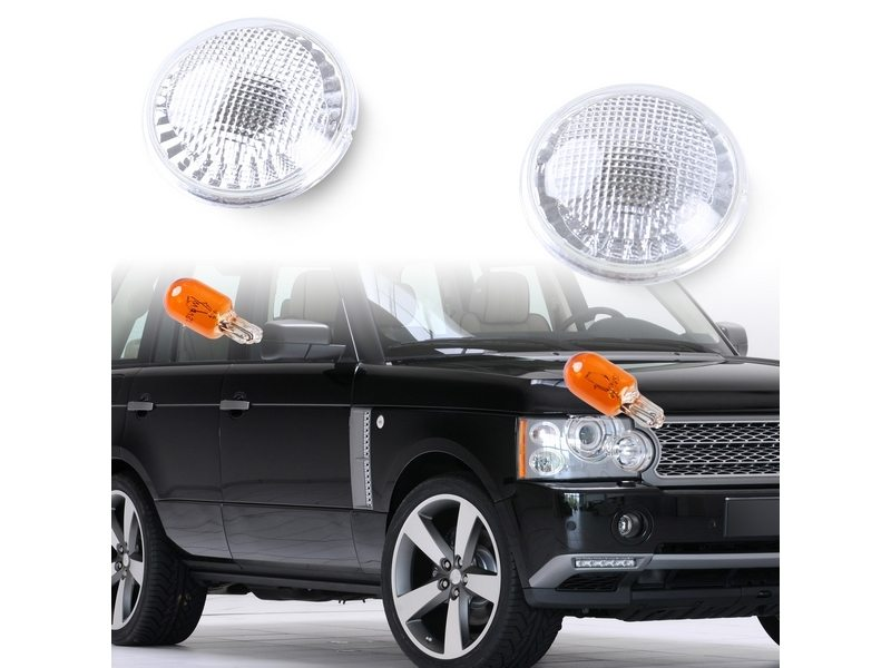 Bulb Side Marker Lights Round Type Clear Lens For Land Rover Range Rover