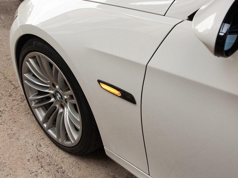 Clear Amber LED Side Marker Light F10 Style For BMW E81 E90 E60 Gloss Black