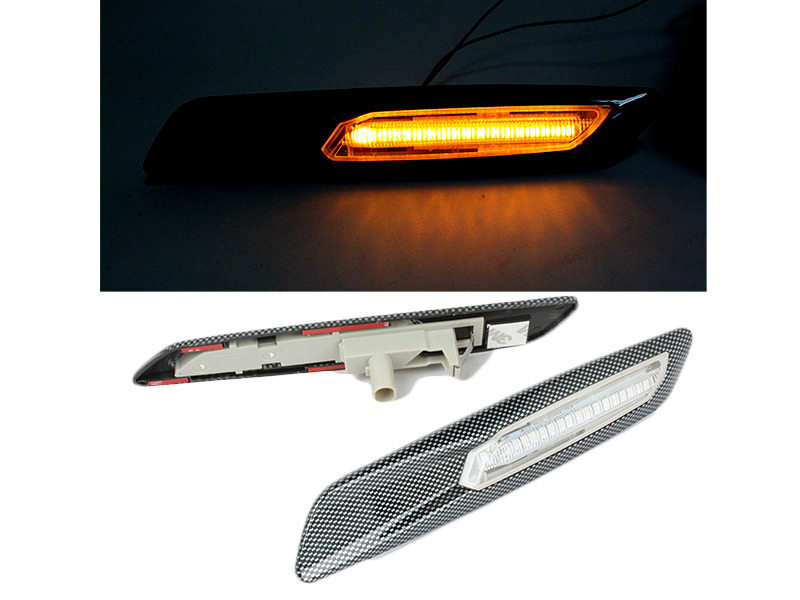 Clear Amber LED Side Marker Light F10 Style Carbon Look For BMW E81 E90 E60