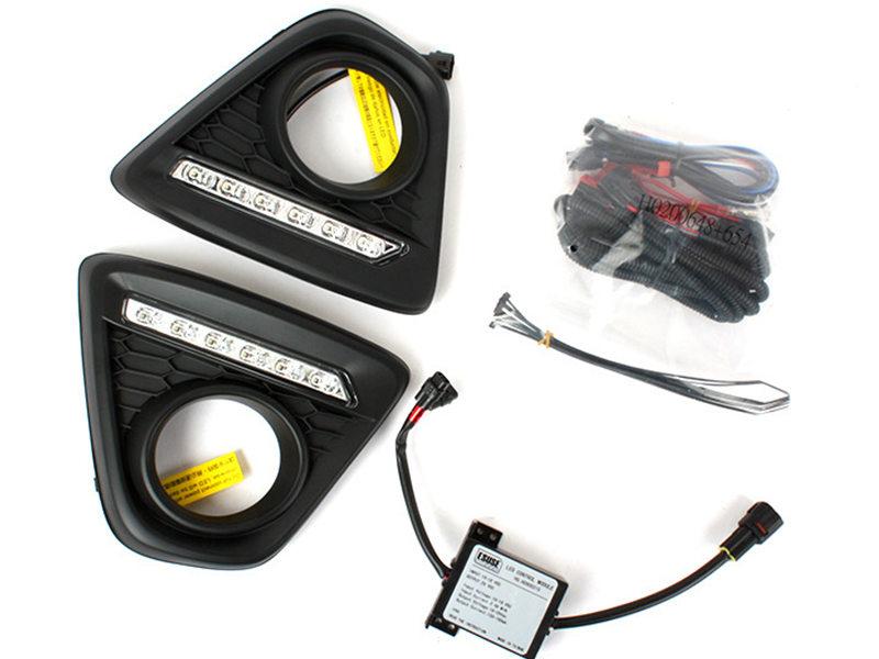 LED Fog Lamp Cover DRL Daytime Running Driving Light Wire Kit For Mazda CX5