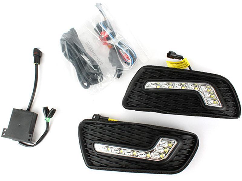 LED Fog Lamp Cover DRL Daytime Running Light Wire Kit For Mercedes C-Class W204