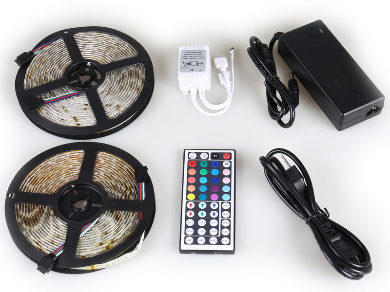 10M (5Mx2) 5050 Waterproof RGB LED Strip Light 300 LEDs Full Kit 44Key IR Remote