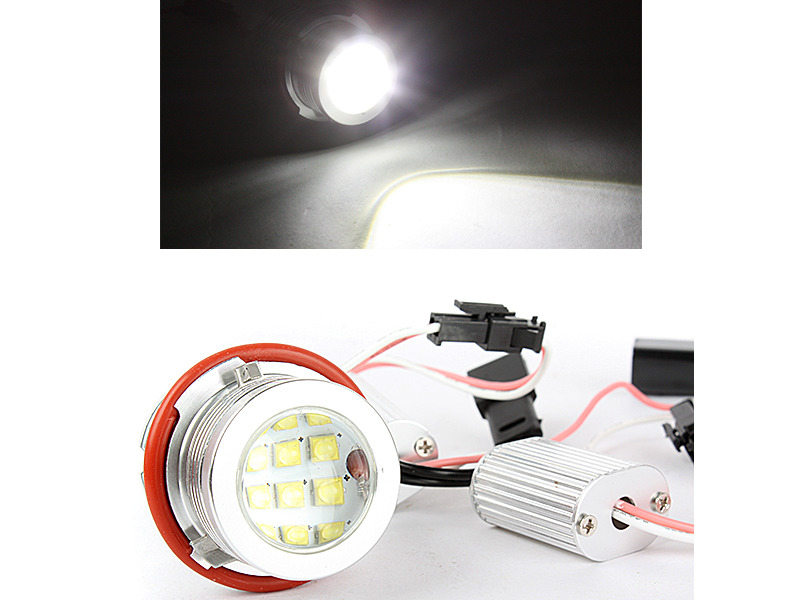 60W LED Angel Eye Halo Ring Head Light Xenon White For BMW E39 E60 E61 M5 X5