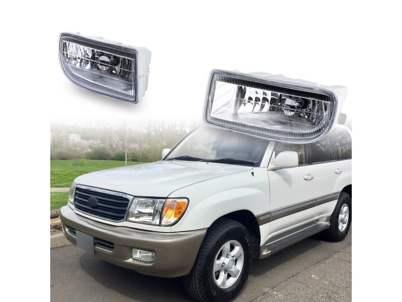 Clear Fog Ligh with Wiring Switch Kit For Toyota Land Cruiser FJ100 99-06