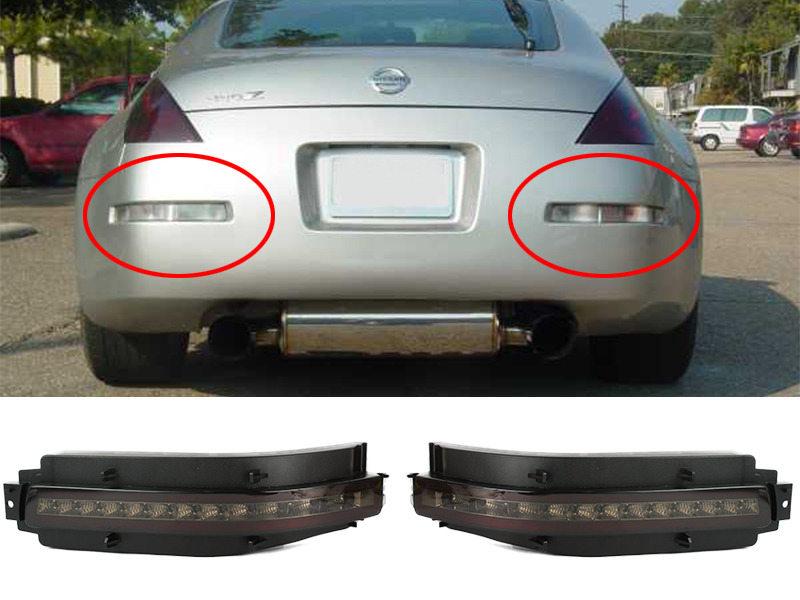 4-in-1 Rear Bumper LED DRL Signal Brake Reverse Light For Nissan 350Z Z33 Smoke