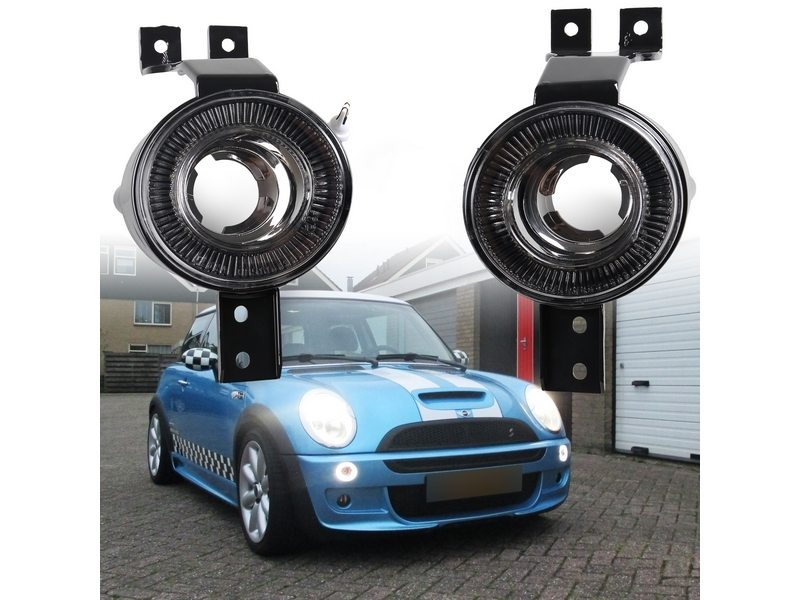LED Front Bumper DRL Indicator Halo Rims Light For Mini Cooper R50 R52 R53 Smoke